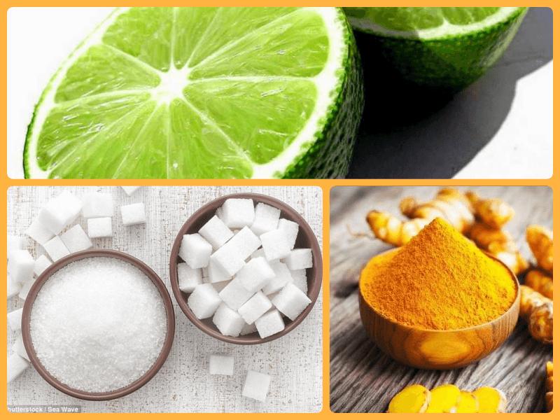 Cách tẩy lông mặt bằng tinh bột nghệ, đường và chanh