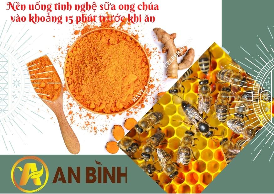 Nên uống tinh nghệ sữa ong chúa vào khoảng 15 phút trước khi ăn