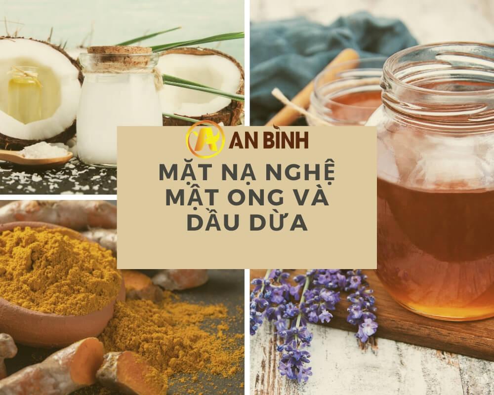 Làm mặt nạ bột nghệ + mật ong + dầu dừa cực dễ